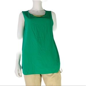 Calvin Klein green blouse Gold Bar Blouse Size L